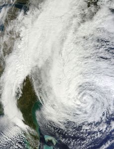 Hurricane Sandy is just one example of those massive storms likely caused as a result of climate change. (Credit: Wikimedia Commons/NASA)